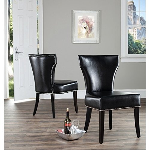 Safavieh Matty Black Leather Nailhead Living And Dining Room Chairs
