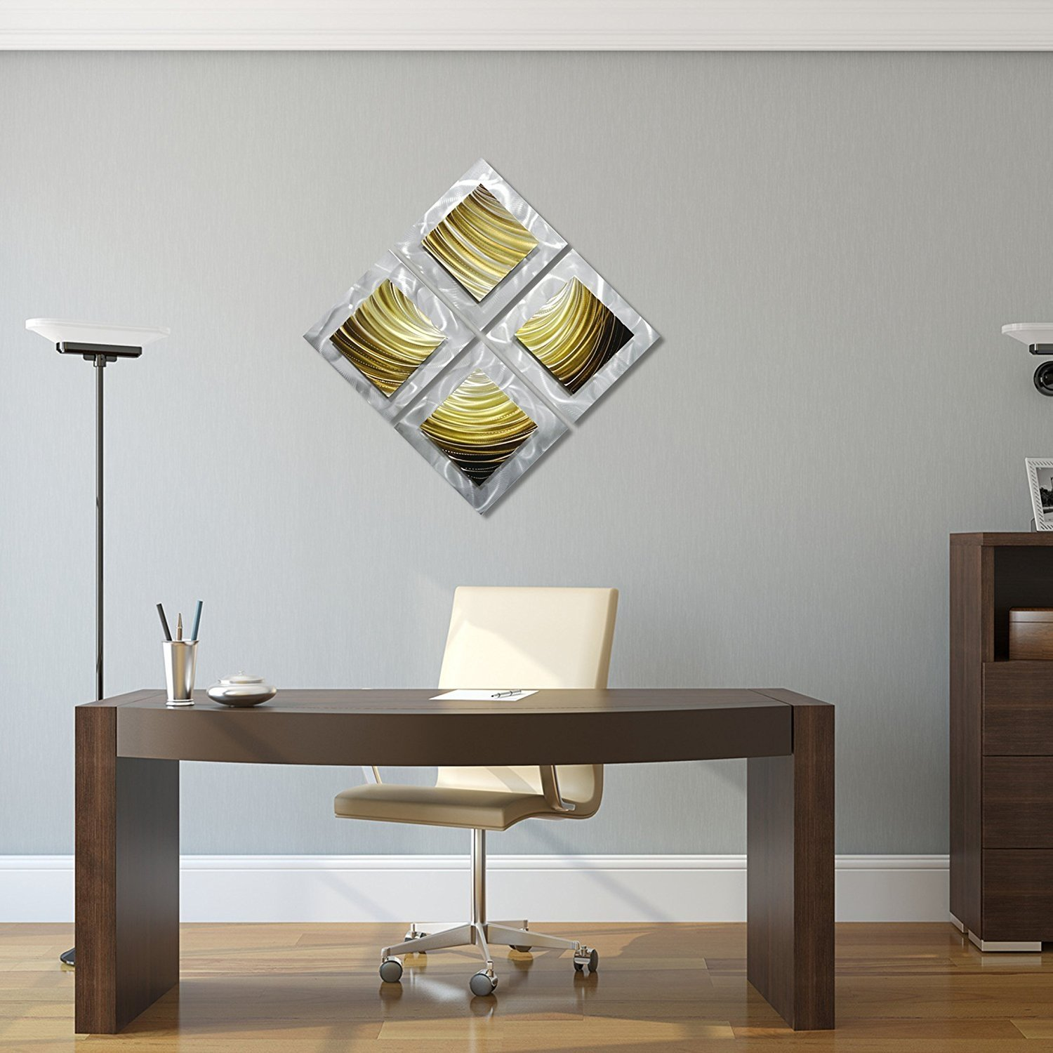 pure art movement in squares small modern metal wall art decor gold and ebay. Black Bedroom Furniture Sets. Home Design Ideas
