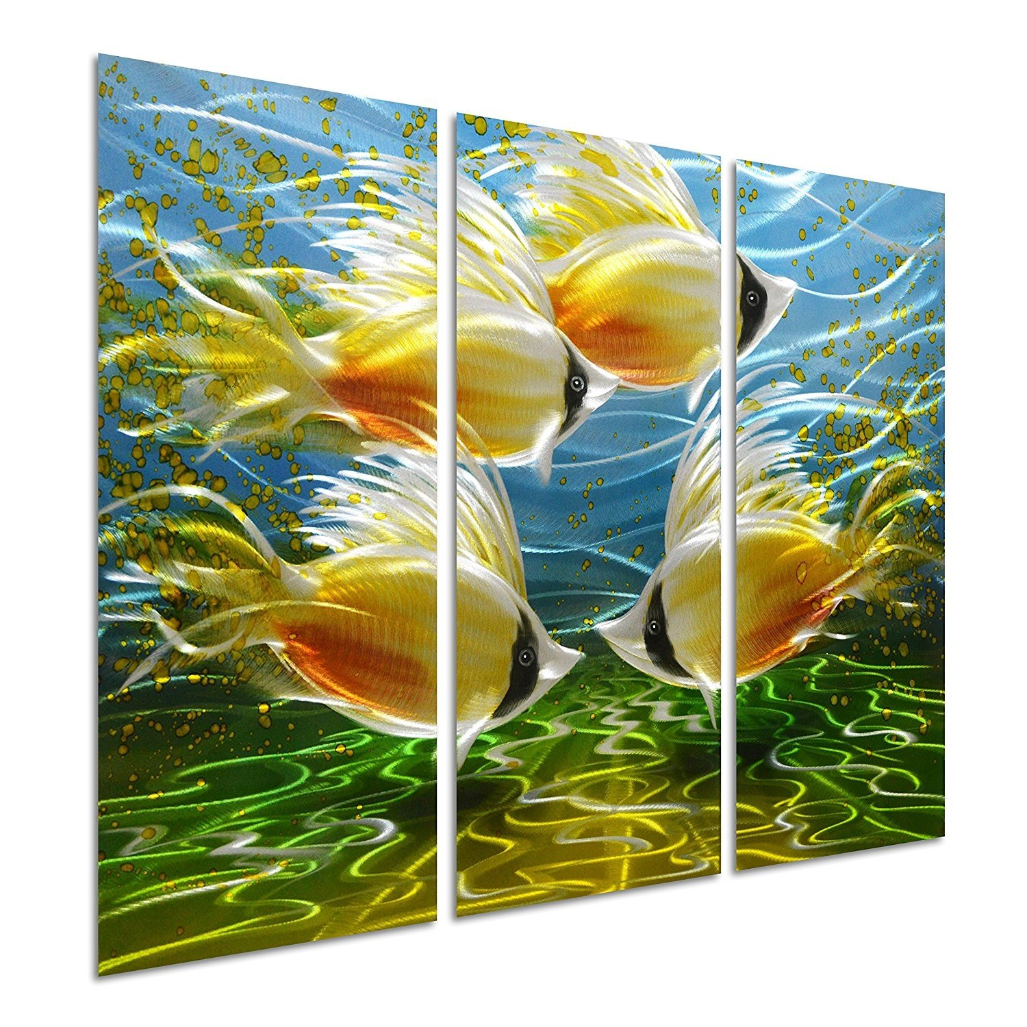 Pure Art Tropical Fish at Sea - Nautical Metal Wall Art Decor ...