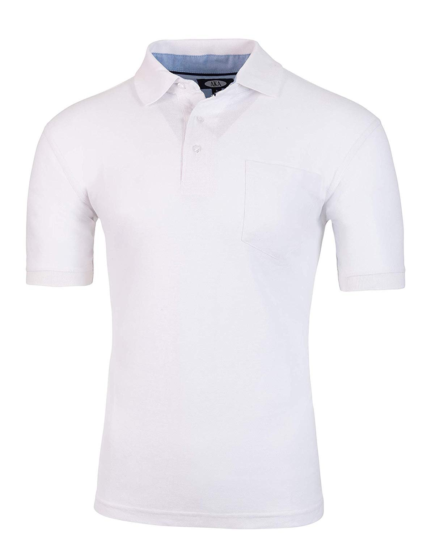 Short-Sleeve-Short-Sleeve-Polo-Shirt-Men-039-s-Classic-Fit-Pique-By-AKA thumbnail 23