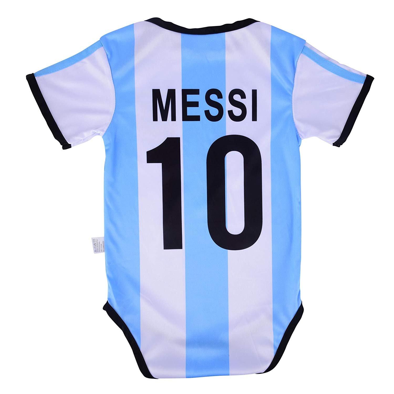86dc32af1de Leo Messi #10 Argentina Soccer Jersey Baby Infant & Toddler Bodysuit Romper
