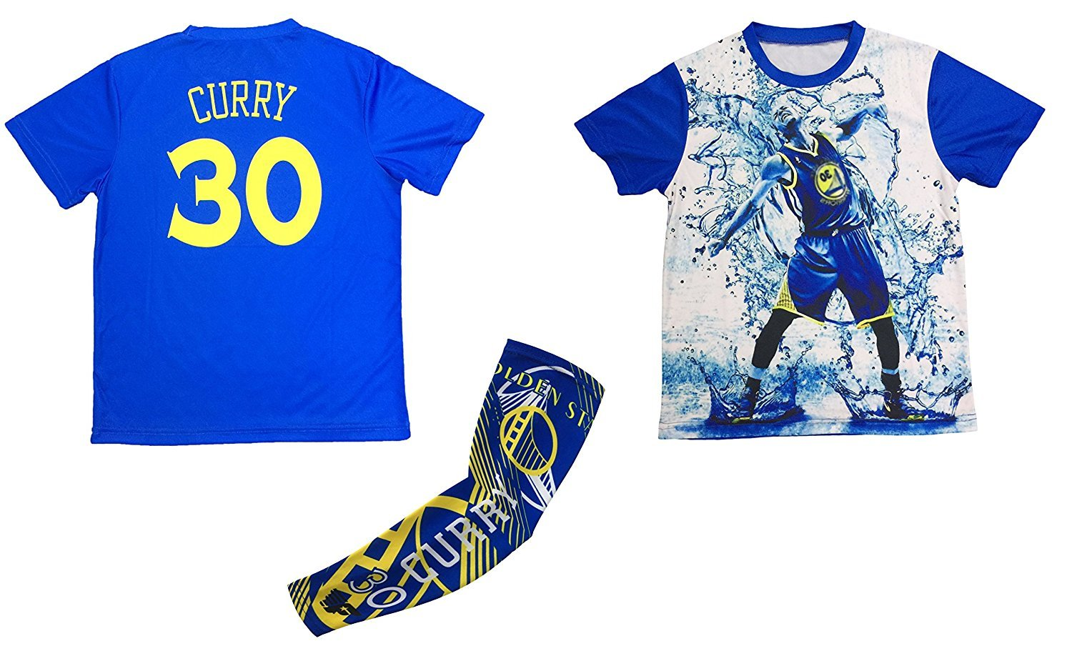 sale retailer 66514 e86cb Details about Steph Curry Jersey Style T-shirt Kids Curry Blue T-shirt Gift  Set Youth Sizes...