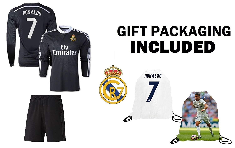 3afff248e Details about Fan Kitbag Ronaldo  7 Madrid Black Dragon Youth Soccer Jersey    Shorts Kids.