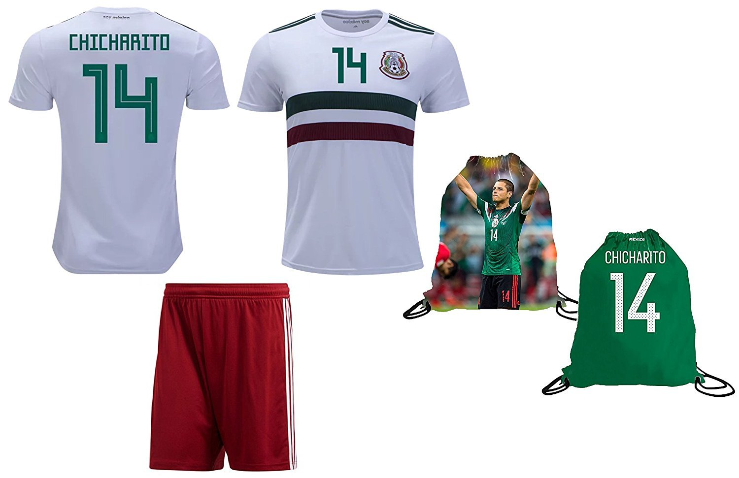 3cd566379a6 Mexico Chicharito  14 Soccer Jersey   Shorts Javier Hernández Kids Away  World.