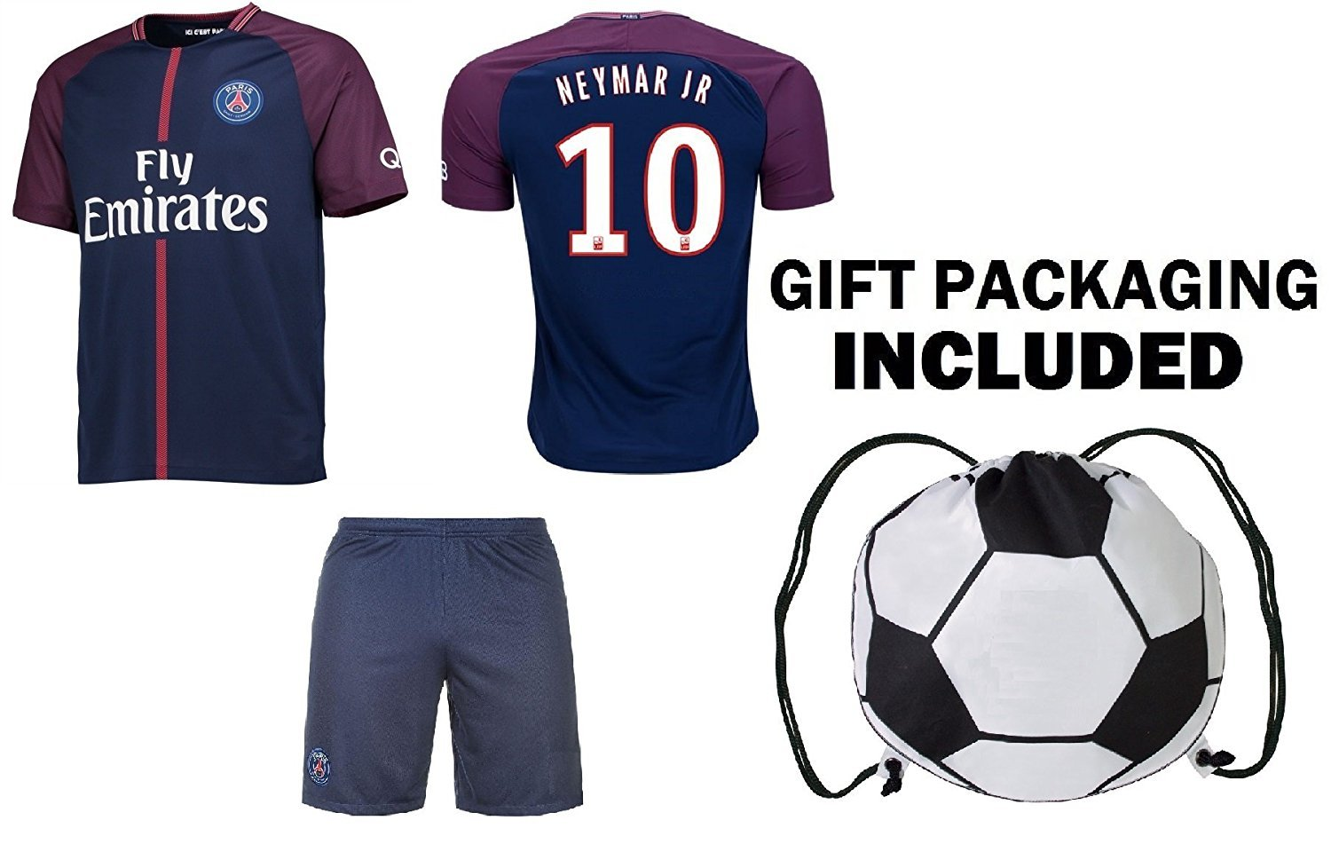 best service 98384 724dd Details about Fan Kitbag Neymar Jr #10 PSG Soccer Jersey & Shorts Paris  Saint Germain Youth...