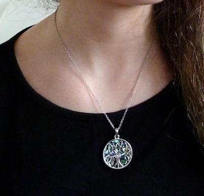 BellaMira-Abalone-Paua-Shell-Tree-of-Life-Silver-Pendant-Necklace-Earrings-Boxed thumbnail 3