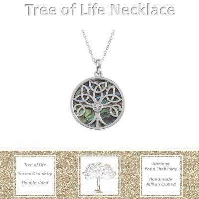 BellaMira-Abalone-Paua-Shell-Tree-of-Life-Silver-Pendant-Necklace-Earrings-Boxed thumbnail 7