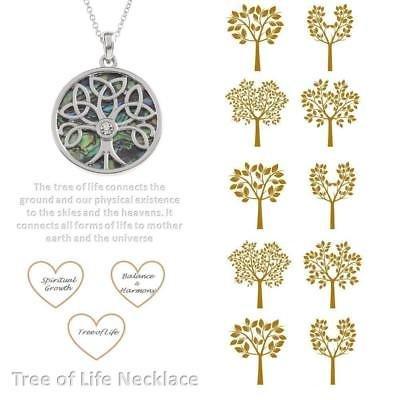 BellaMira-Abalone-Paua-Shell-Tree-of-Life-Silver-Pendant-Necklace-Earrings-Boxed thumbnail 6
