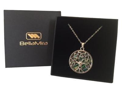 BellaMira-Abalone-Paua-Shell-Tree-of-Life-Silver-Pendant-Necklace-Earrings-Boxed thumbnail 4