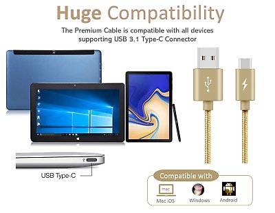 Type-C-USB-C-Sync-Charger-Charging-Cable-for-Samsung-Galaxy-A5-S9-S9-S8-Plus thumbnail 6