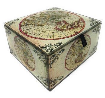 Velvet... Beveled Edges Value Arts Antique World Map Glass Keepsake Box