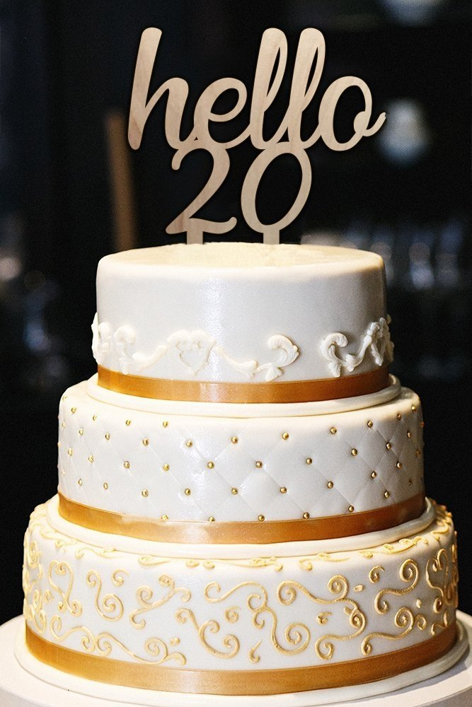 Hello 20 Cake Topper 20th Birthday Cake Topper Milestone Birthday