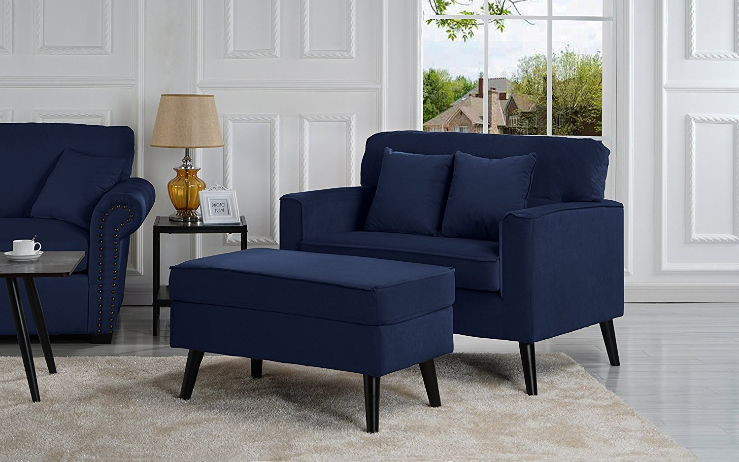 Details about Mid-Century Modern Living Room Large Accent Chair with  Footrest / Storage Blue