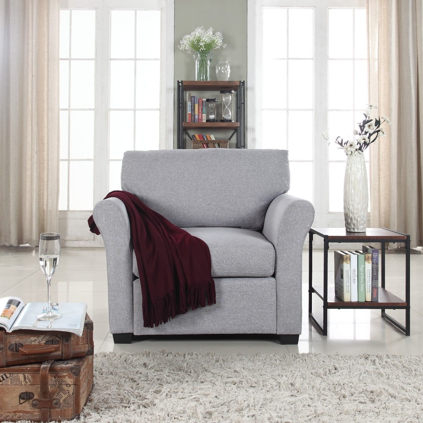 Details about Classic Traditional Linen Fabric Accent Chair Armchair for  Living Room, Grey