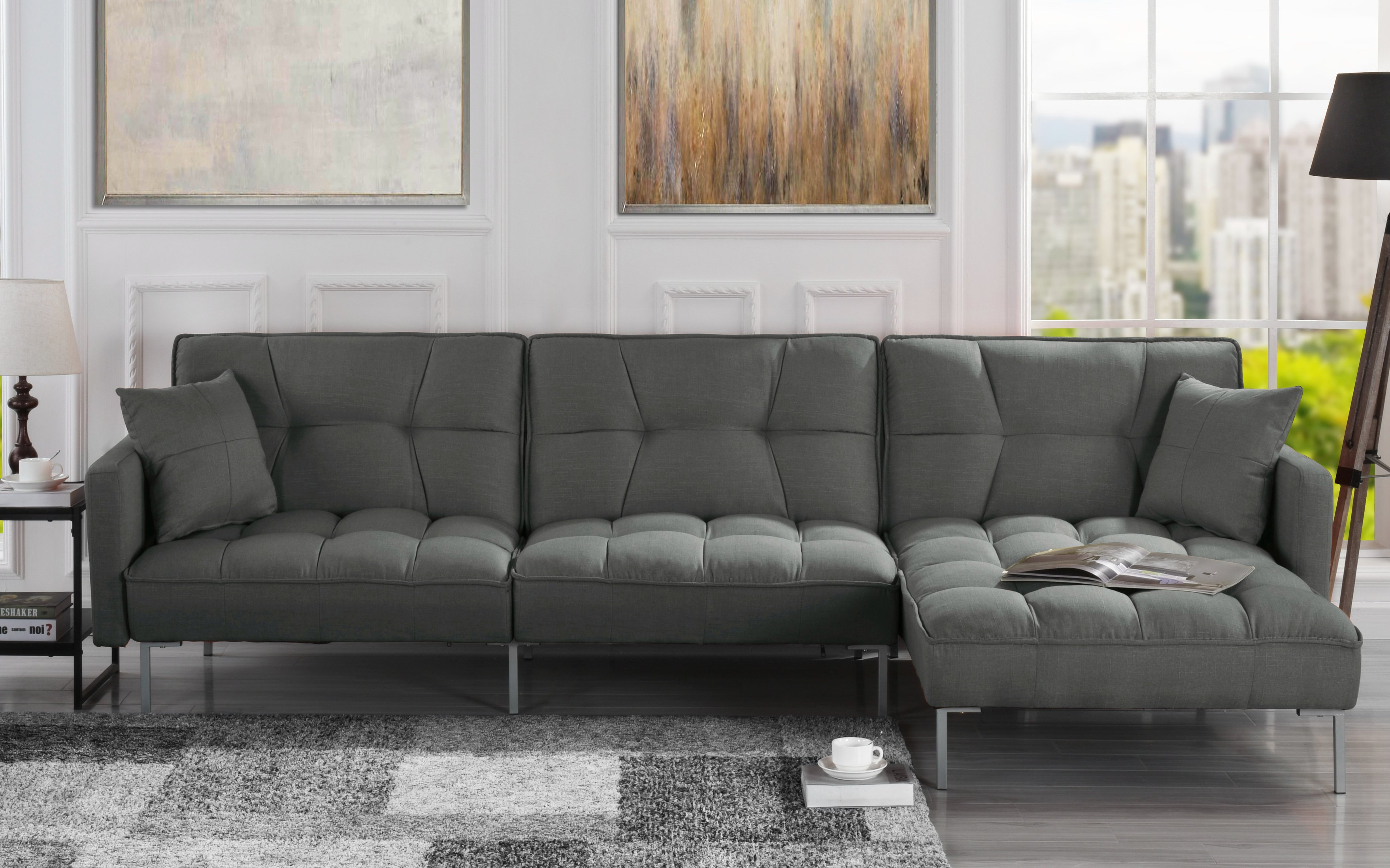 Details About Modern Linen Casual Fabric Futon Sectional Sofa Pillows 110 6 Wide Dark Grey