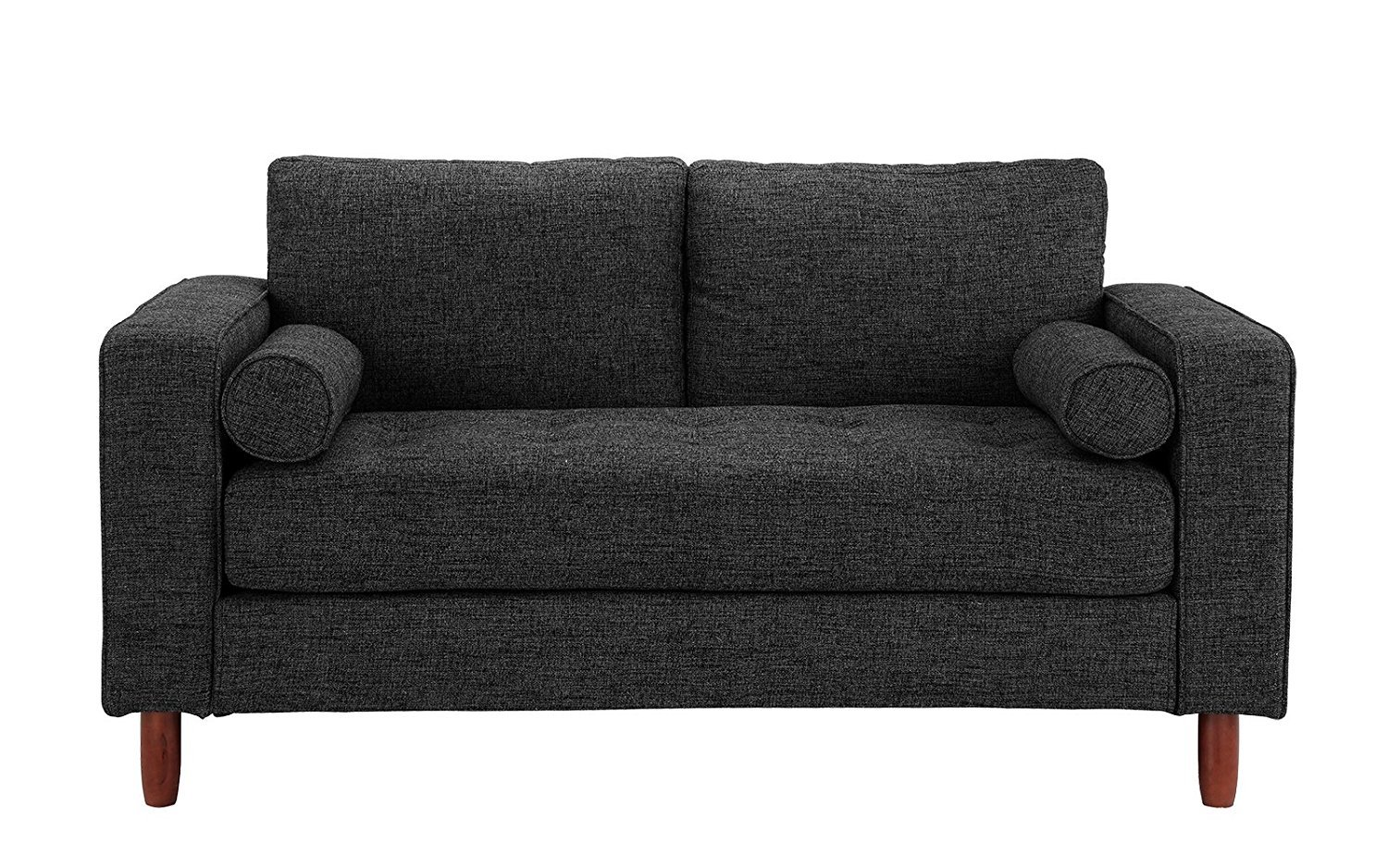 Details About Modern Sofa Loveseat With Tufted Linen Fabric   Living Room  Couch, Dark Grey