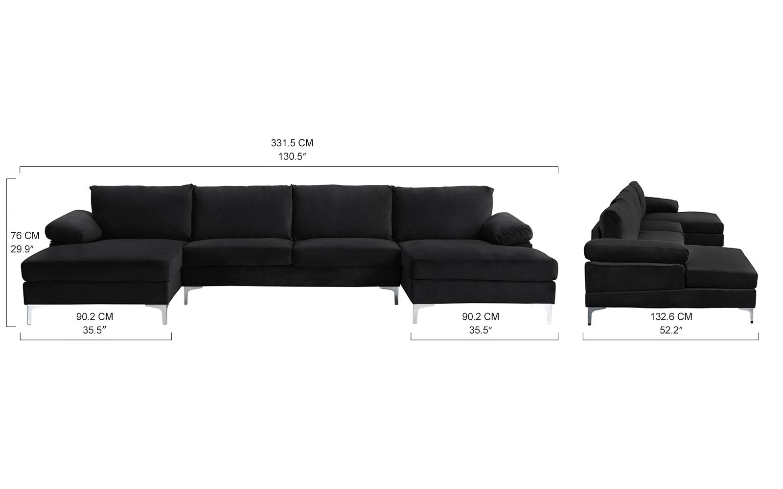 Brilliant Details About Modern Large Velvet U Shape Sectional Sofa Double Wide Chaise Lounge Black Gmtry Best Dining Table And Chair Ideas Images Gmtryco