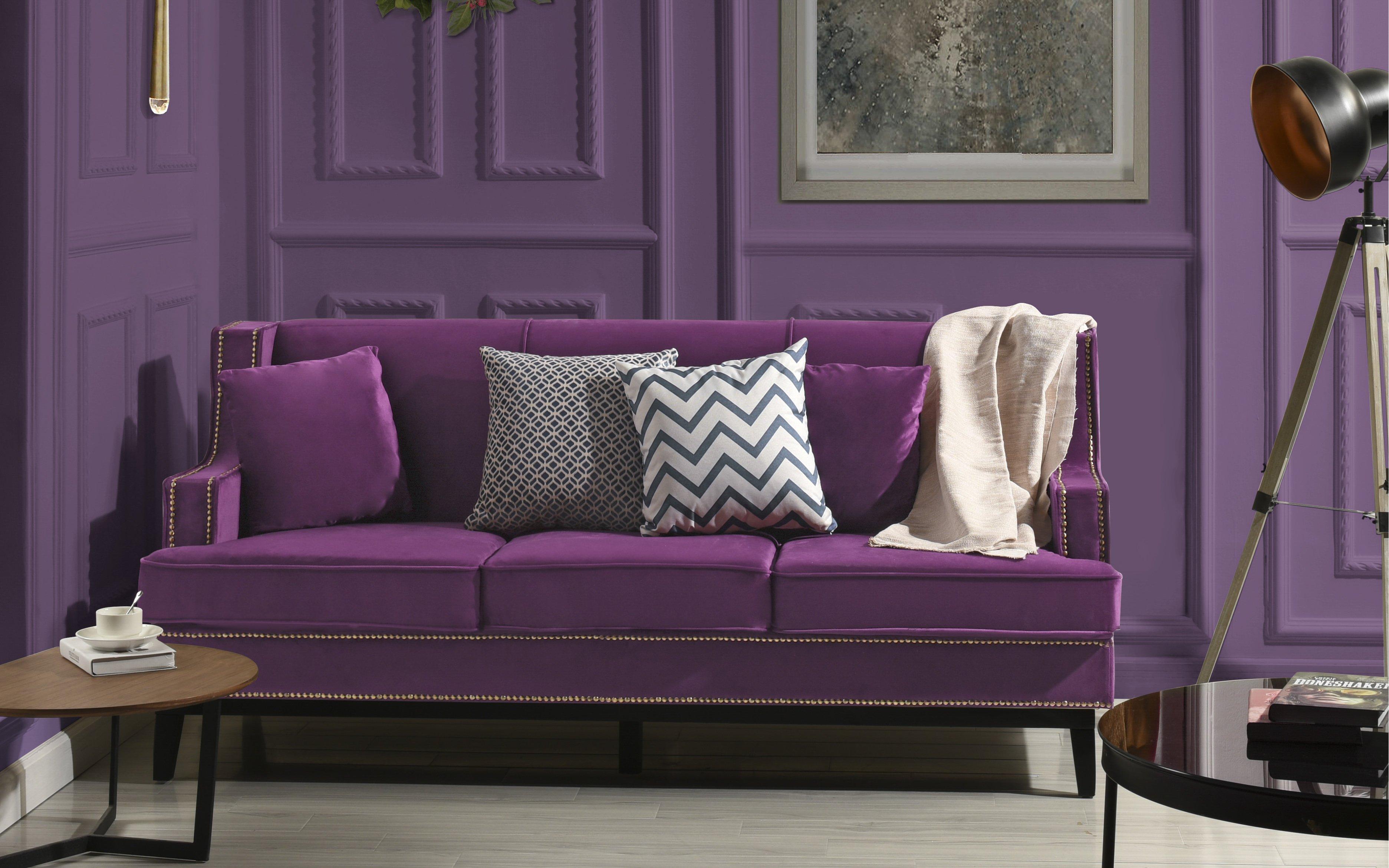 Purple Soft Velvet Sofa with Nailhead Trim Detail Wooden Fra