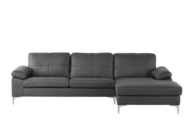 Grey Leather Match Sectional Sofa, Large L-Shape Couch with Chaise ...