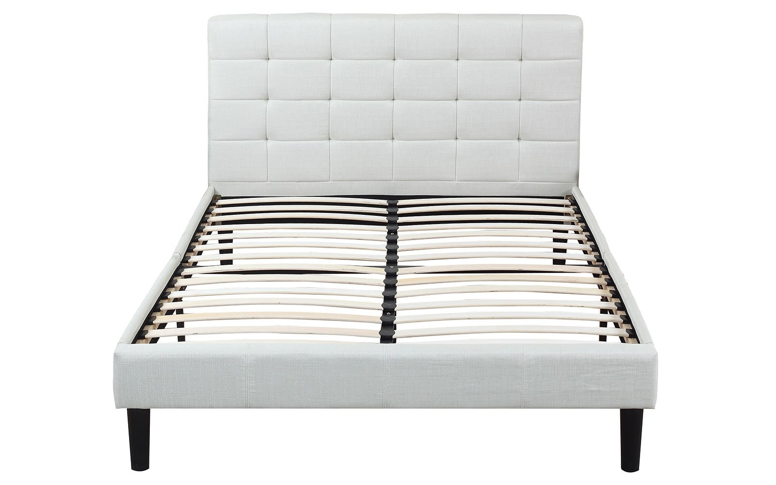 Deluxe Beige Linen Low Profile Platform Bed Frame With Tufted