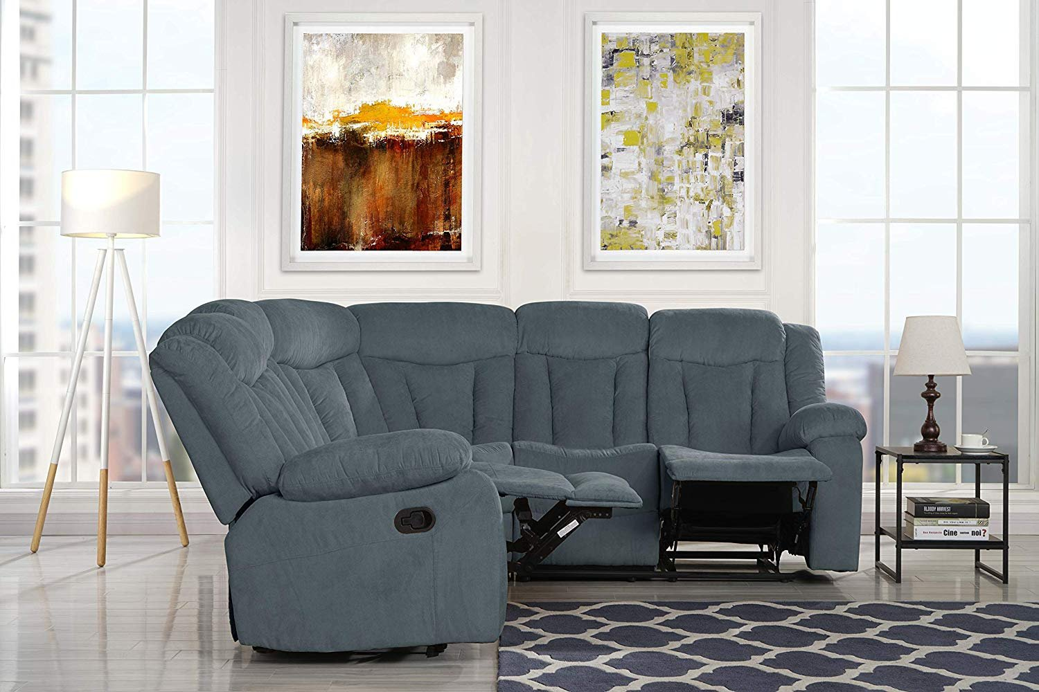 Traditional Living Room Recliner Couch 881 Inch Fabric Sectional