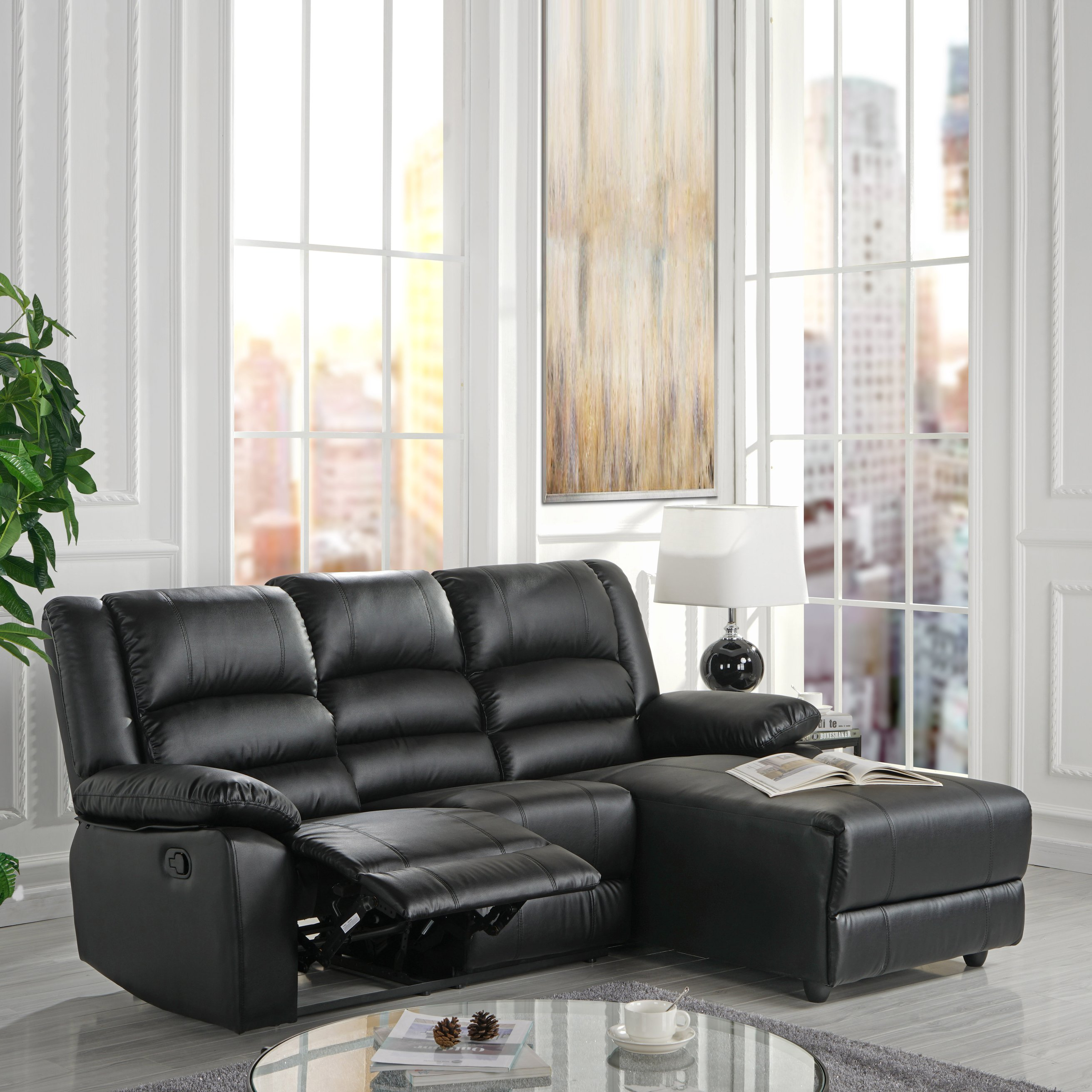 Cool Details About Bonded Leather Loveseat Recliner Right Facing Chaise With Plush Seating Black Andrewgaddart Wooden Chair Designs For Living Room Andrewgaddartcom