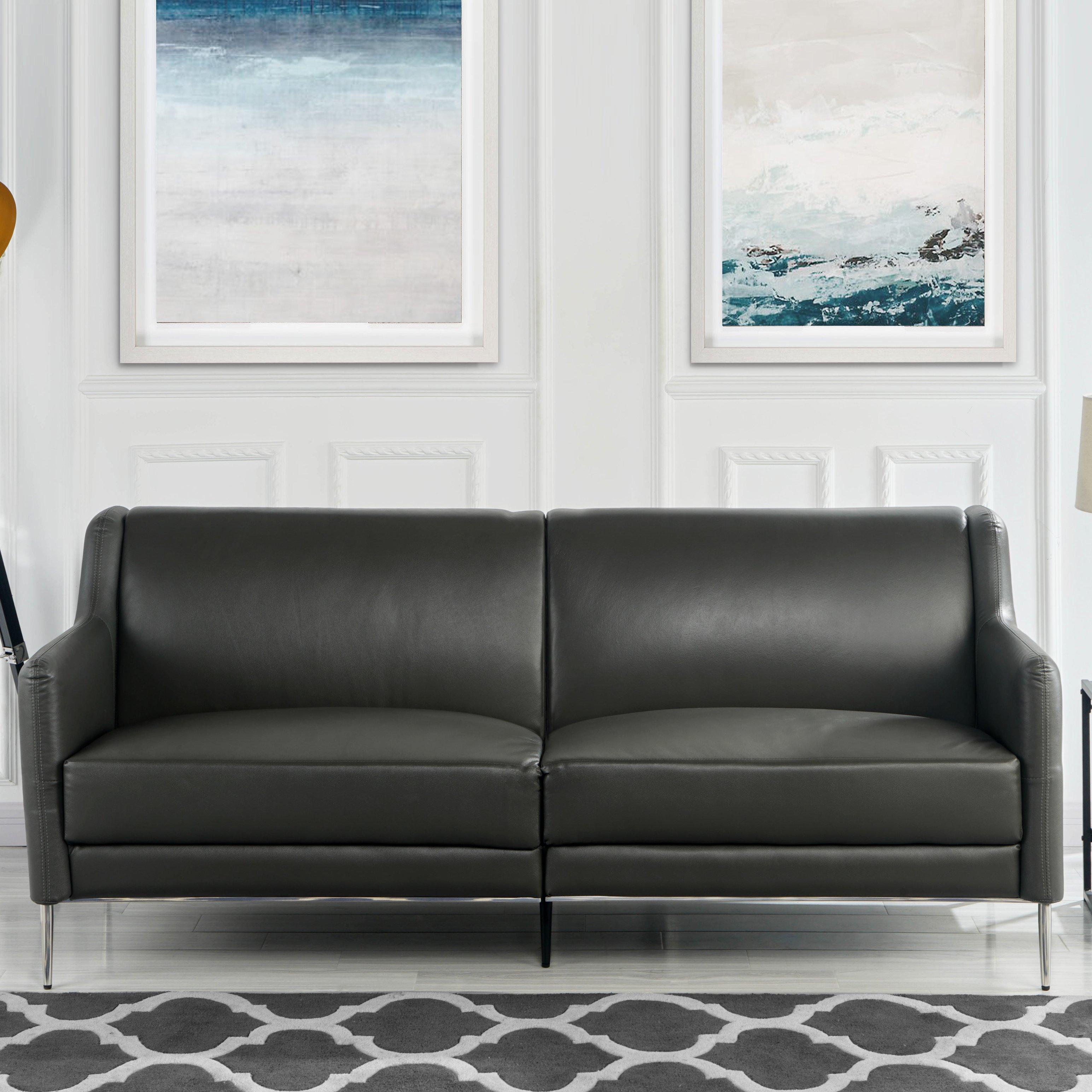 Picture of: Sofa De Coincidencia De Cuero De Mediados De Siglo 77 1 Elegante Simple Sofa Del Salon En Gris Ebay