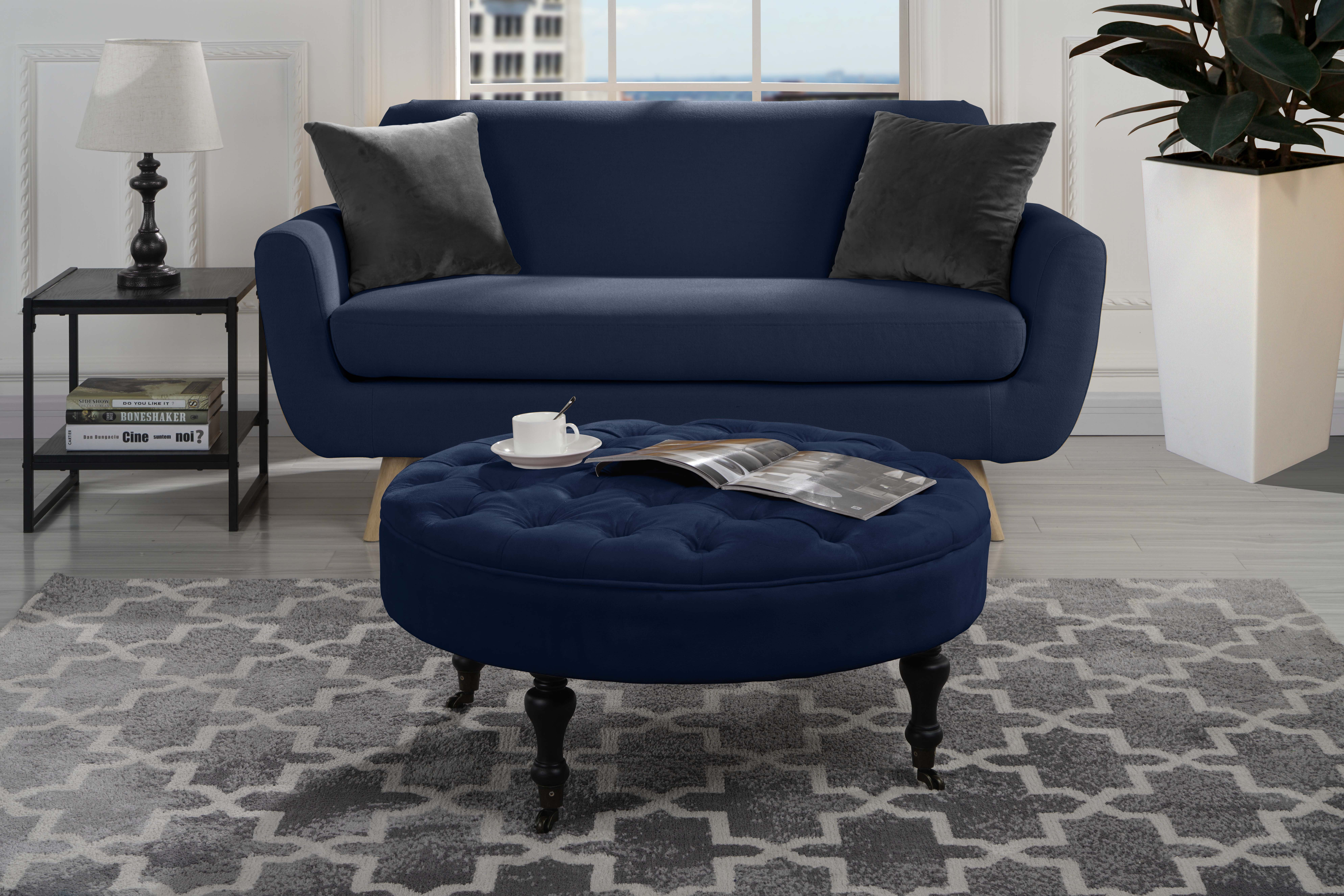 Etonnant Details About Modern Round Tufted Microfiber Coffee Table W/ Casters,  Ottoman W/ Wheels (Navy)