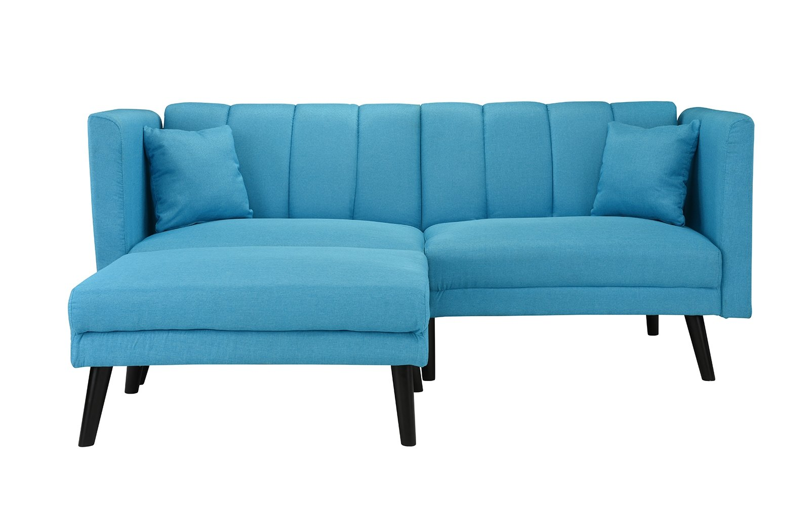 Details about Mid-Century Modern Linen Futon Sofa Bed, Classic Living Room  Couch, Sky Blue
