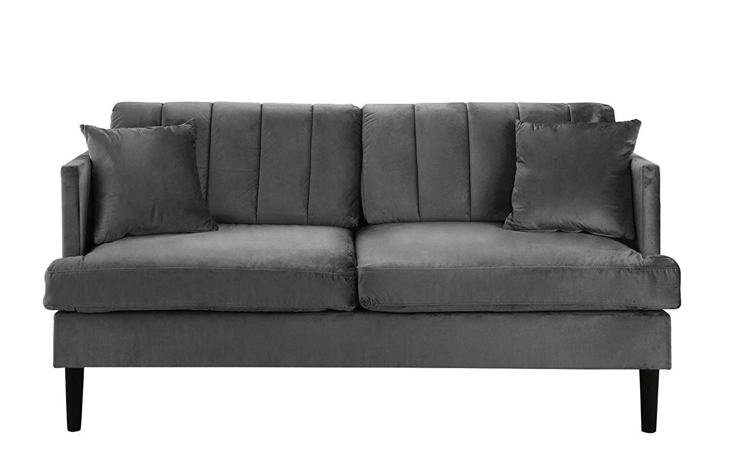 Details about mid century large loveseat sofa velvet upholstered living room couch grey