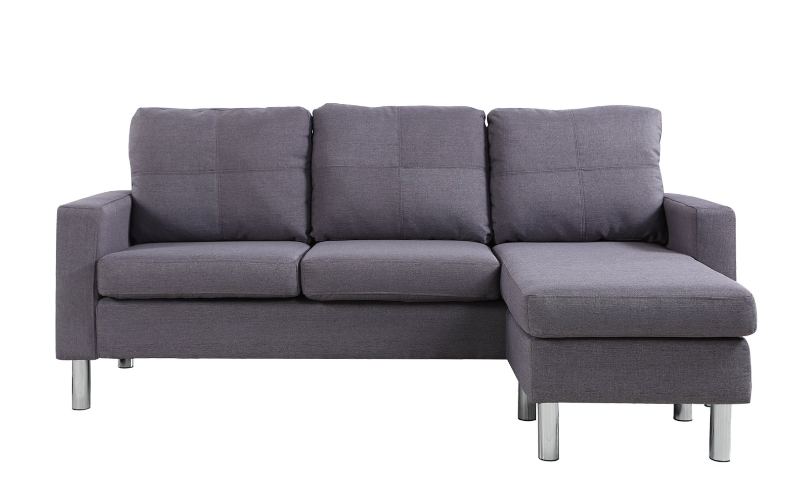 Details about Modern Small Space Reversible Linen Fabric Sectional Sofa in  Color Light Grey