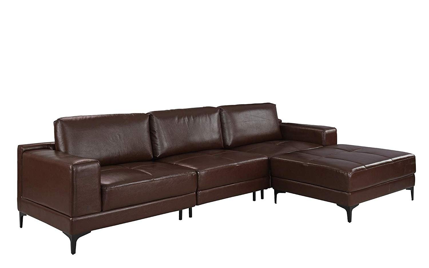 Swell Details About Modern 114 9 Inch Leather Sectional Sofa Living Room Reversible Couch Brown Bralicious Painted Fabric Chair Ideas Braliciousco