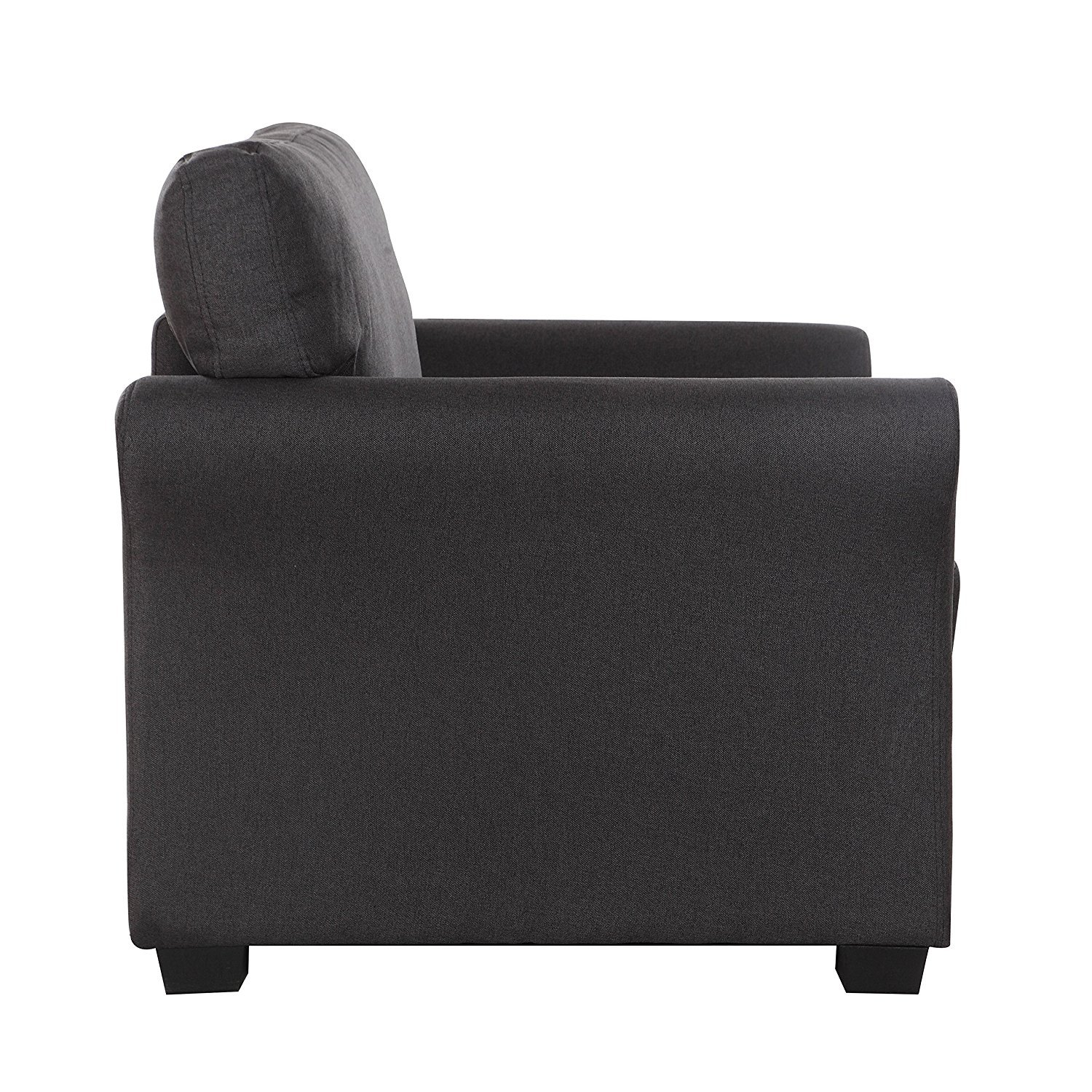 Details about Dark Grey Classic Contemporary Fabric Accent Chair Casual  Living Room Armchair