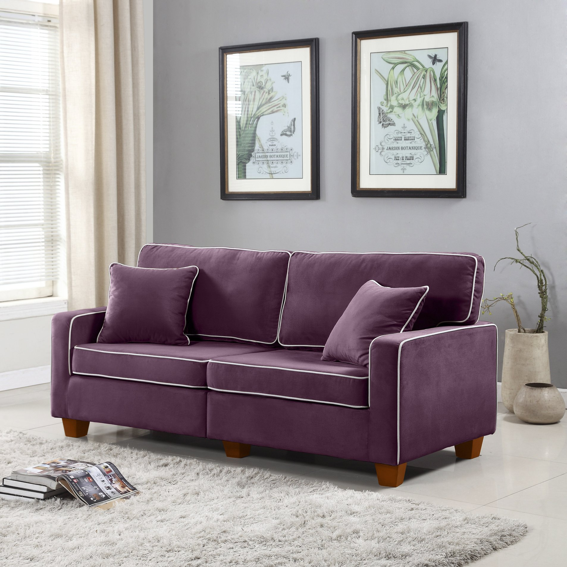 Astounding Details About Modern Two Tone Velvet Fabric Living Room Loveseat Sofa Wooden Legs Purple Lamtechconsult Wood Chair Design Ideas Lamtechconsultcom