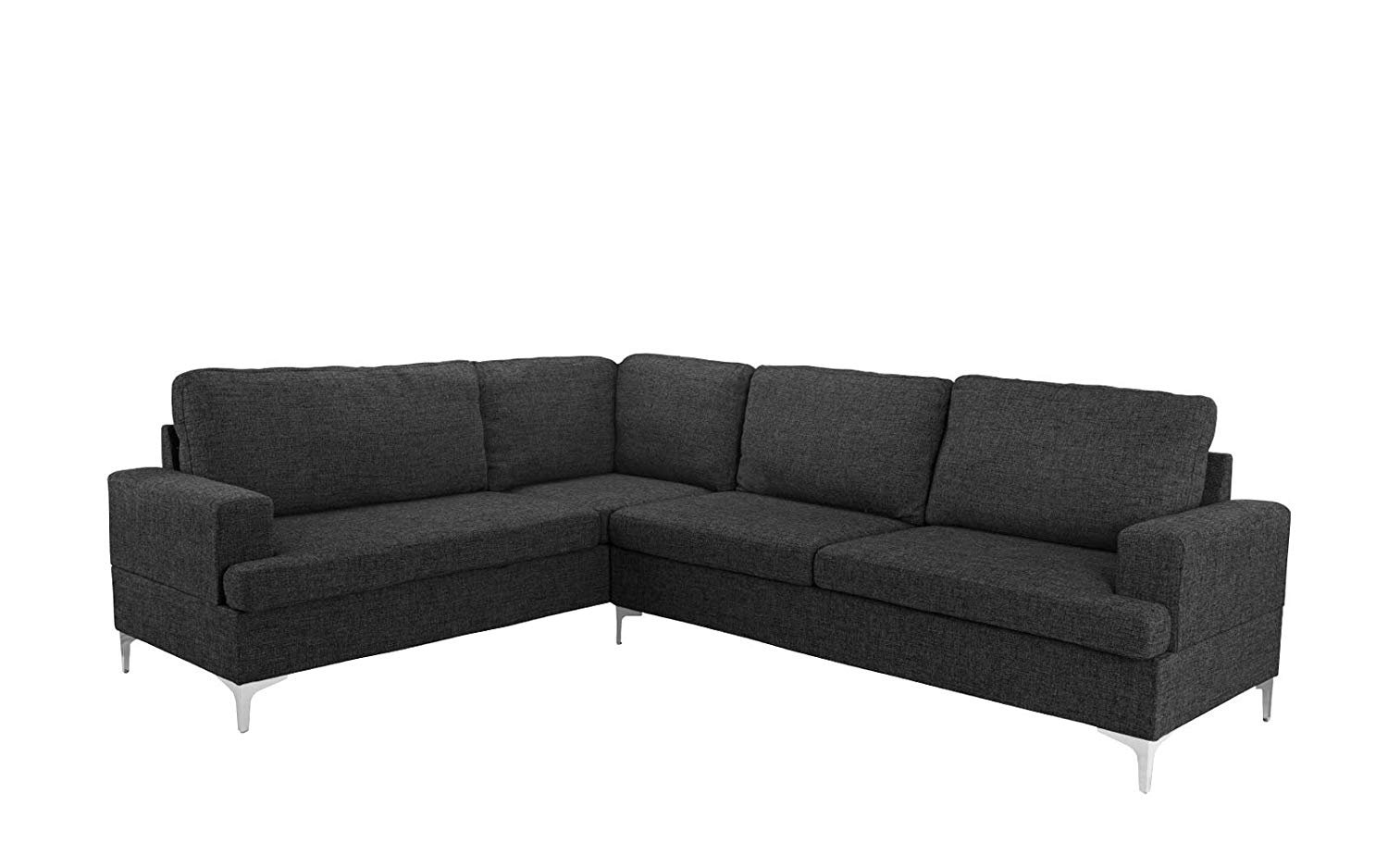 Details about Family Room Sectional Sofa Classic Living Room L-Shape Couch,  Linen (Dark Grey)