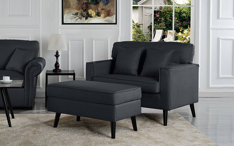 Modern Contemporary Grey Large Armchair Ottoman Set