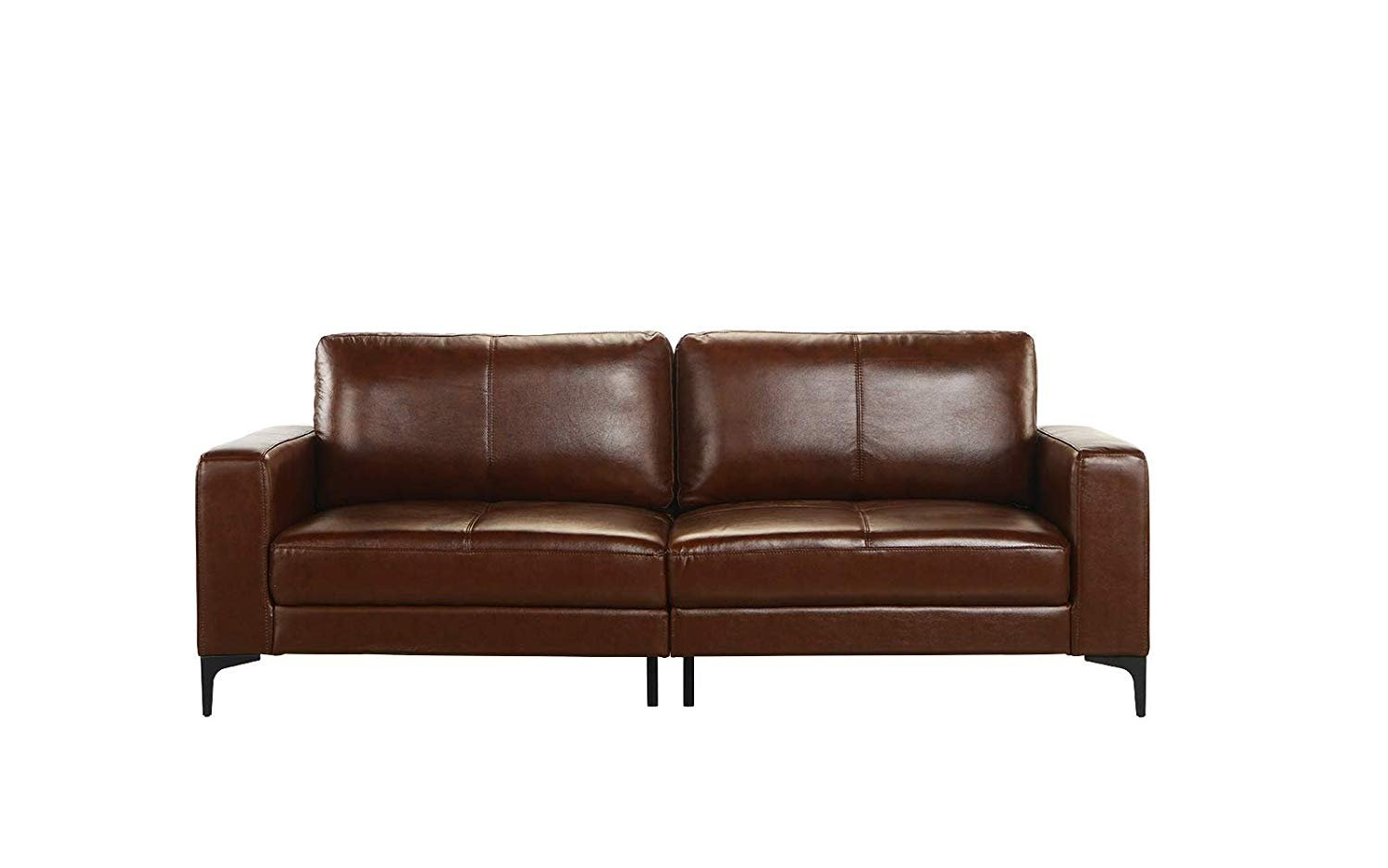 Details About Mid Century Modern Dark Brown Upholstered Leather Match Sofa 80 3 W Inch Couch