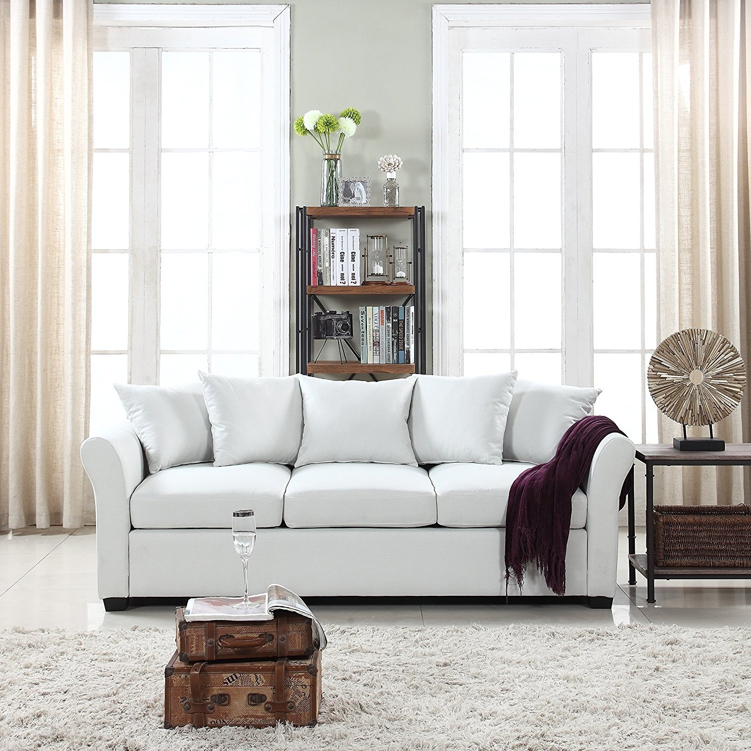 Details About Clic Beige Sofa Comfortable Linen Fabric 3 Seat Couch High Density