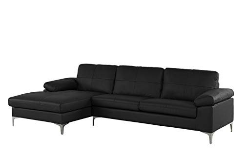 Black Leather Match Family Room Sectional Sofa L Shape