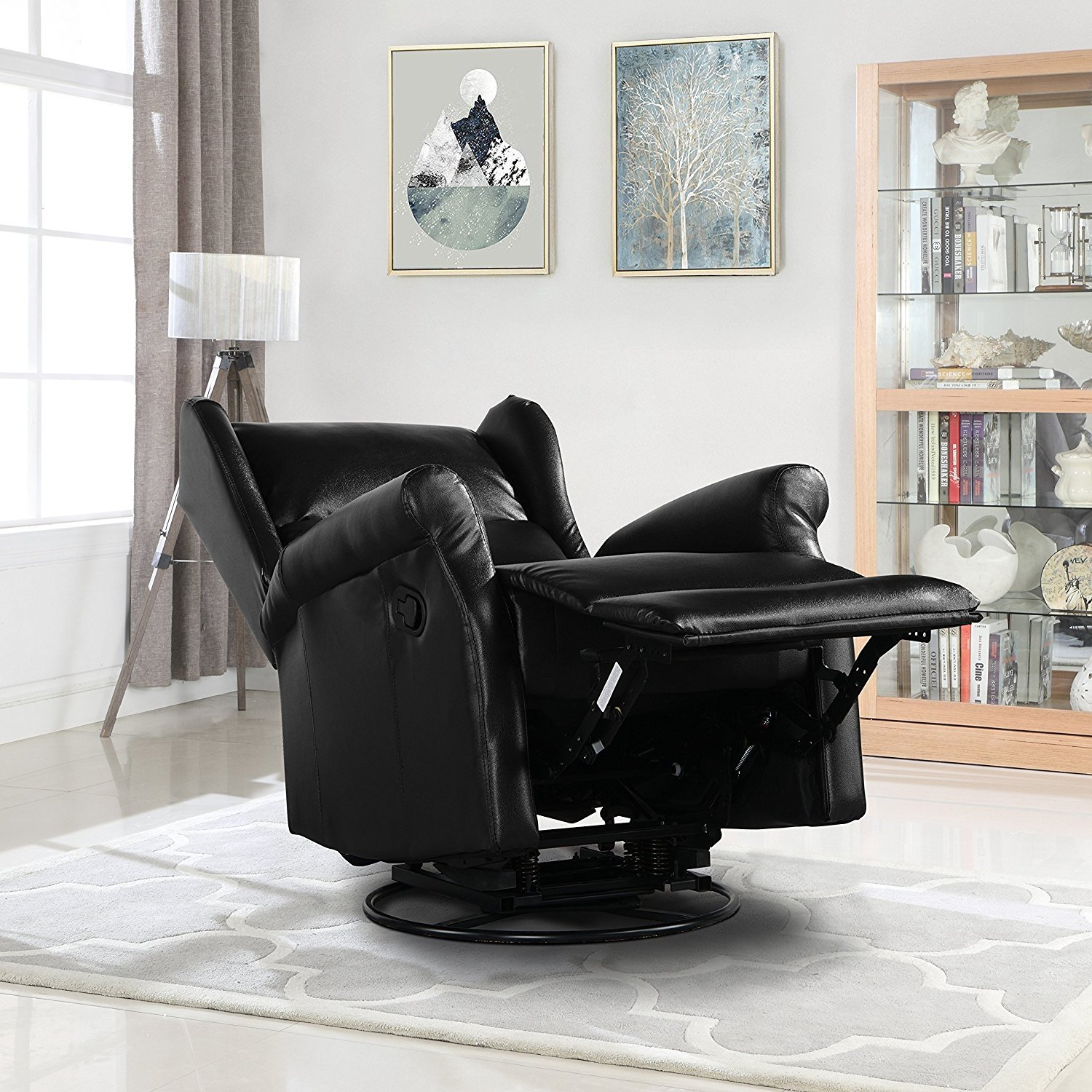 Details About Reclining Swivel Accent Chair For Living Room Faux Leather Arm Chair Black