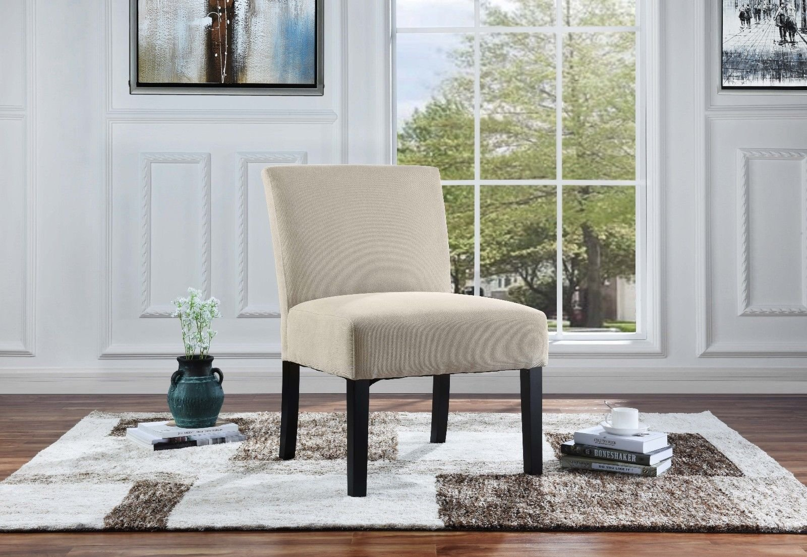 Details about Modern Contemporary Sleek Linen Fabric Living Room Accent  Chair, Dining Chair