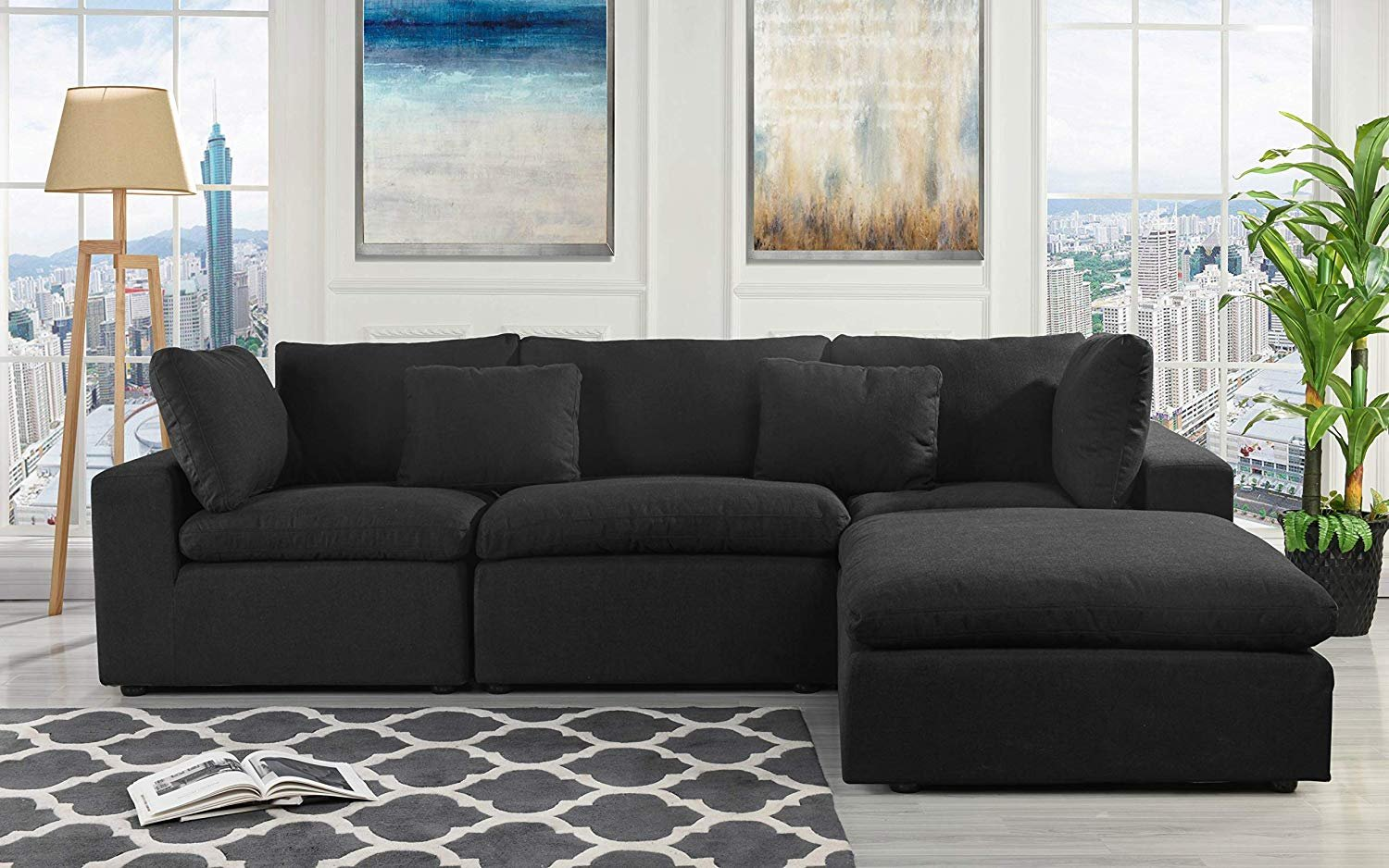 Fabric Sectional Sofa L Shape Couch