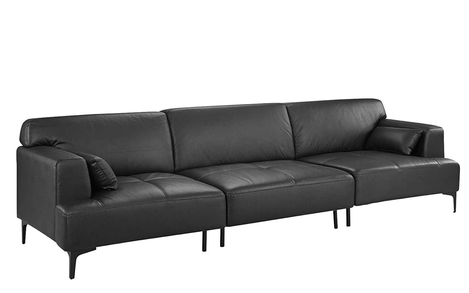 Details About Extra Large Living Room Sofa/Couch In Leather, Wood Frame, 2  Pillows, Dark Grey