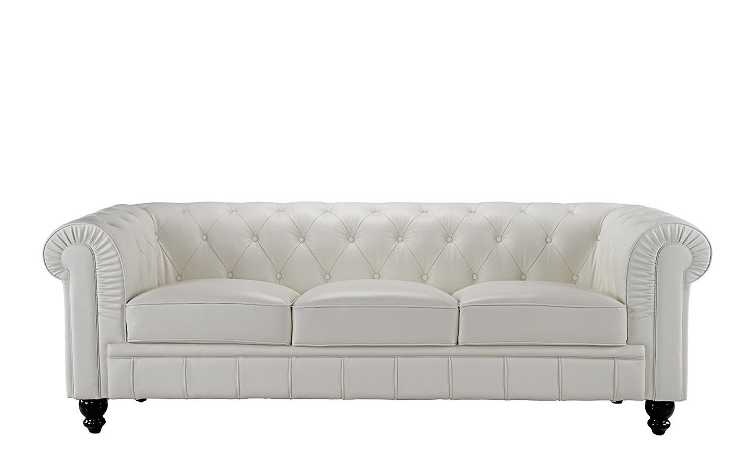 Classic Scroll Arm Real Leather Chesterfield Sofa Off White