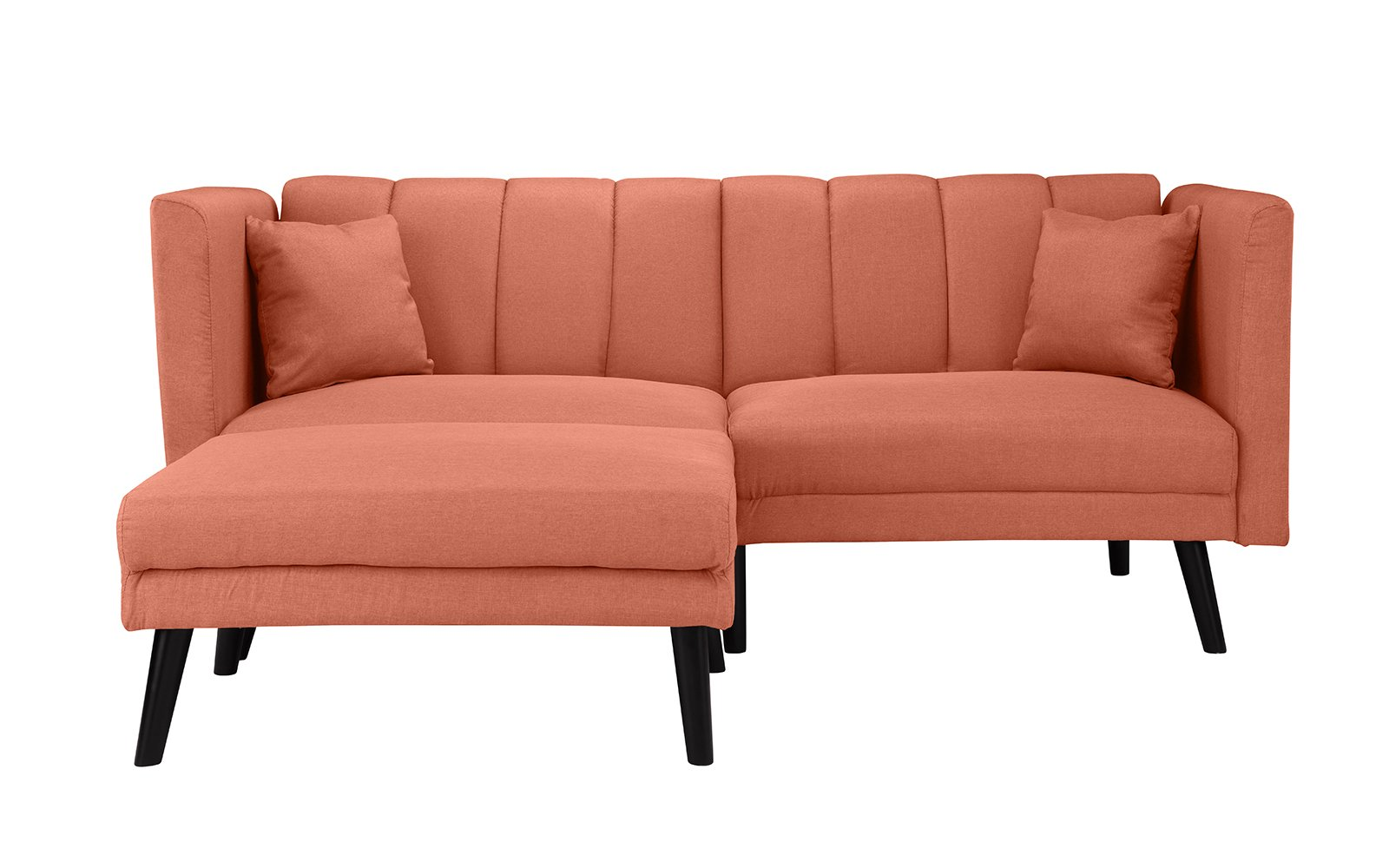 Details About Mid Century Modern Linen Fabric Futon Sofa Bed Living Room Sleeper In Orange