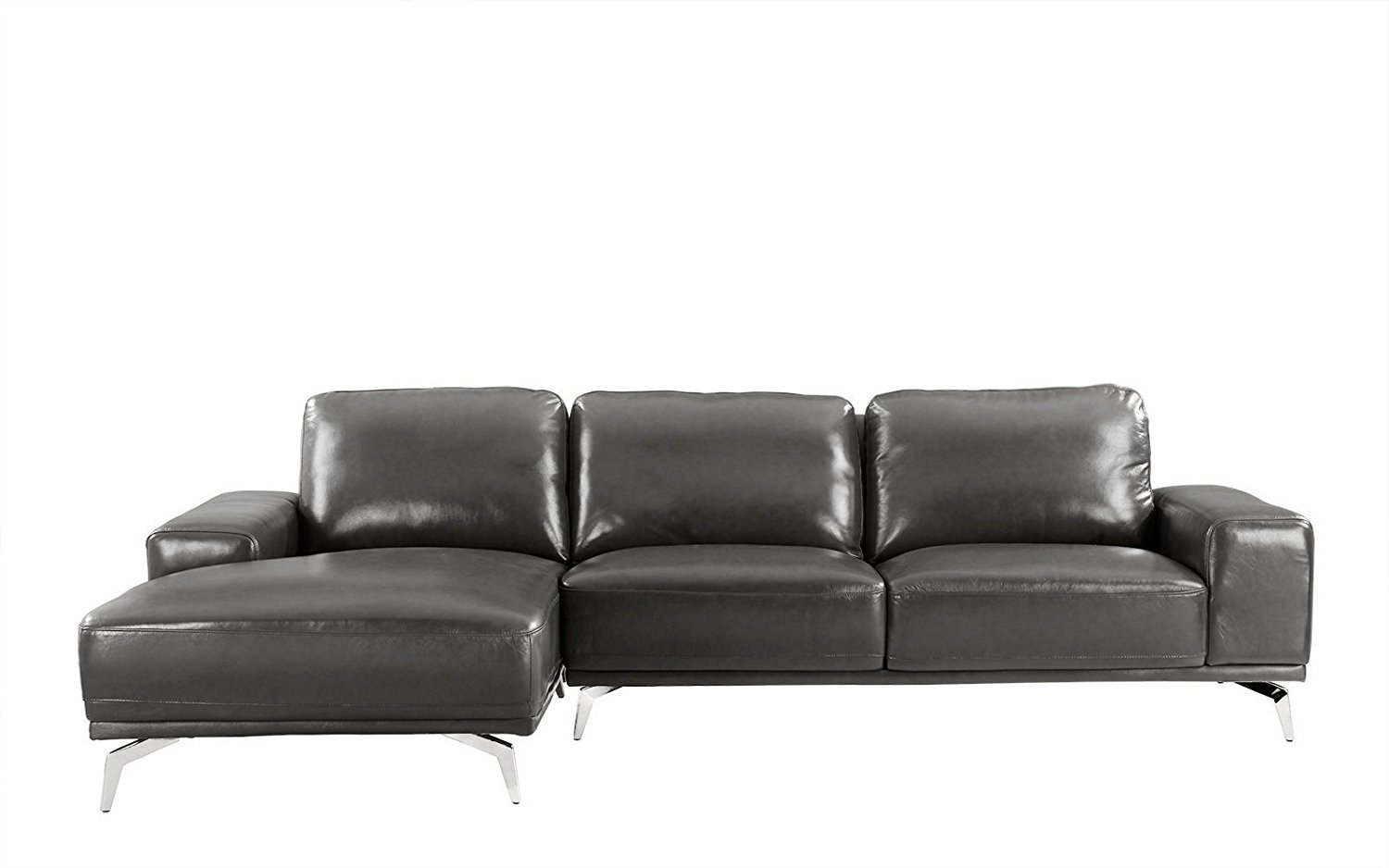 Modern Real Leather Sectional Sofa, L-Shape Couch w/ Left ...
