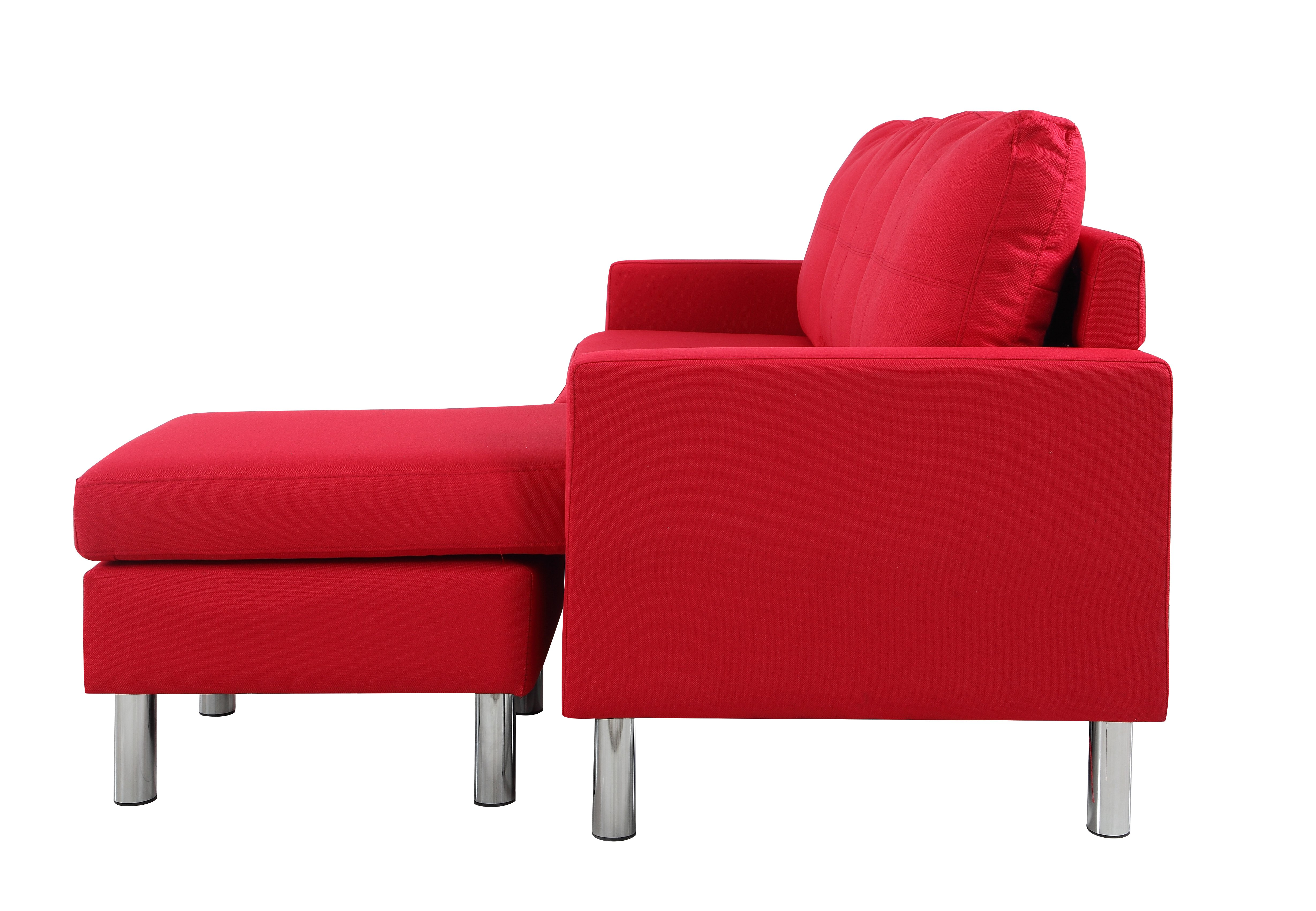 Modern-Living-Reversible-Linen-Fabric-Sectional-Sofa-Small-Space-Red thumbnail 4