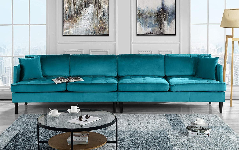 Mid Century Modern Extra Large Velvet Sofa, 4 Seat Living ...
