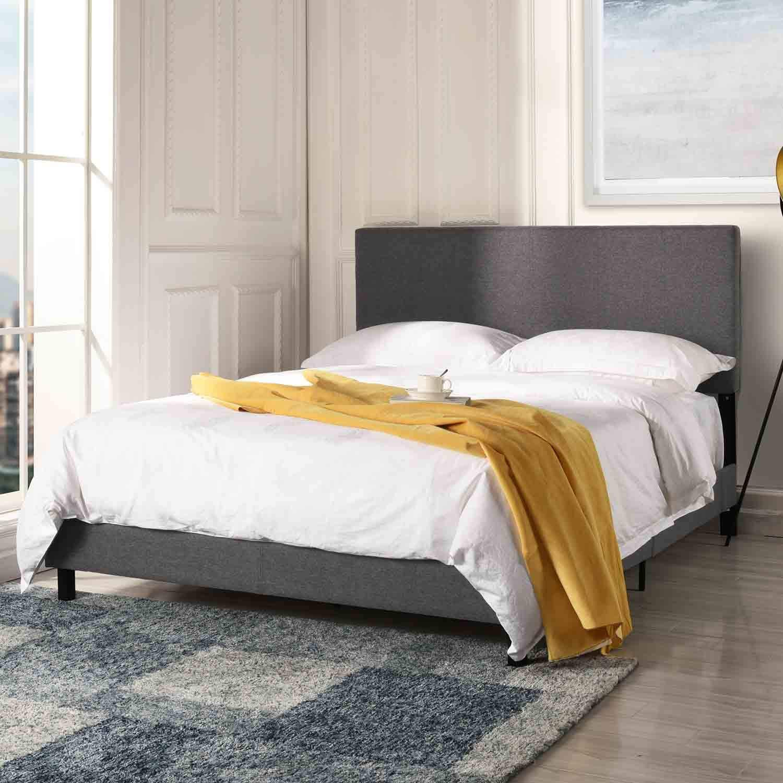 competitive price ba3b9 52656 Details about Modern Bed Frame Upholstered Headboard Platform Full Size Bed  in Dark Grey