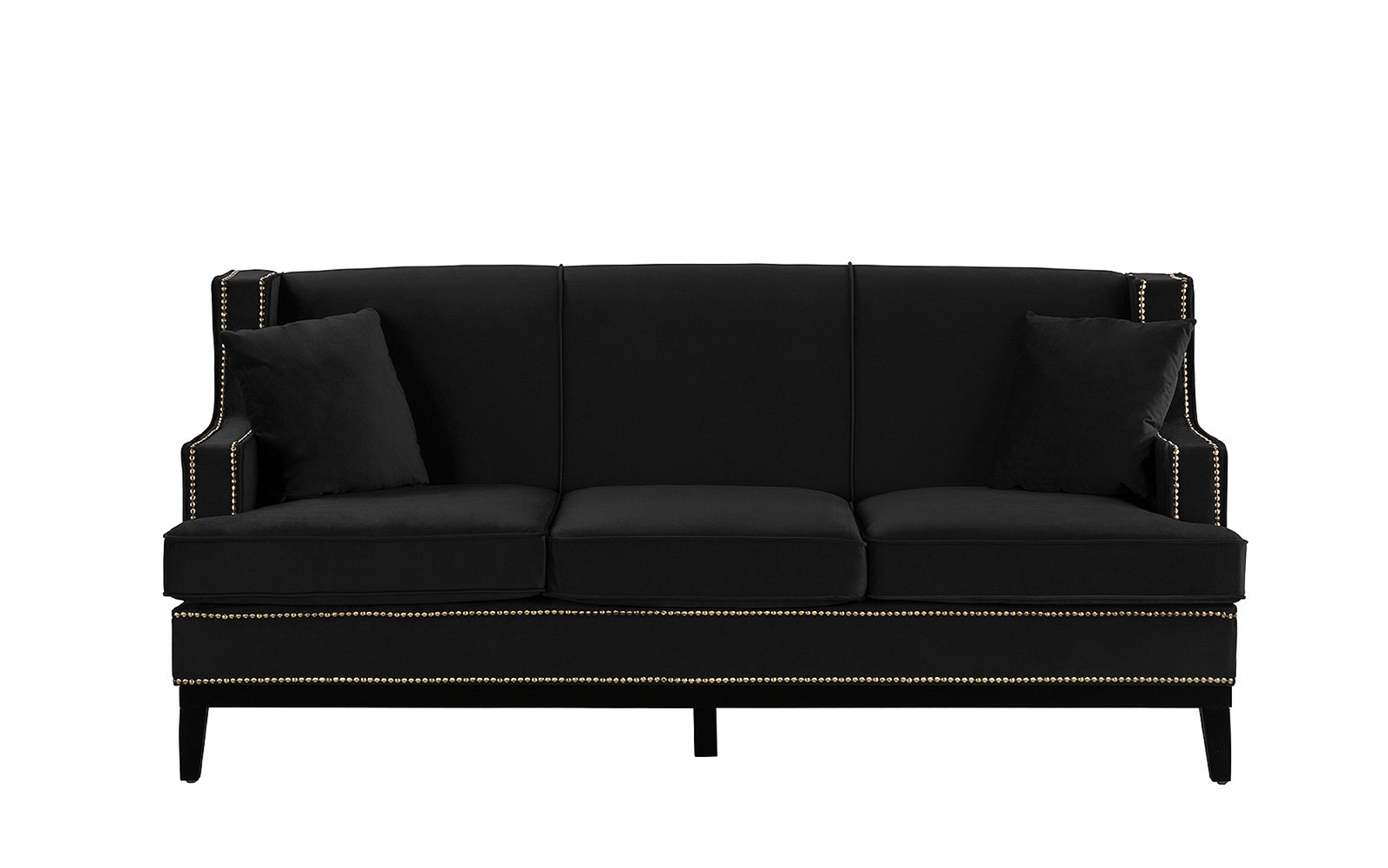 Modern Vintage Style Soft Velvet Sofa, Couch with Nailhead Trim ...